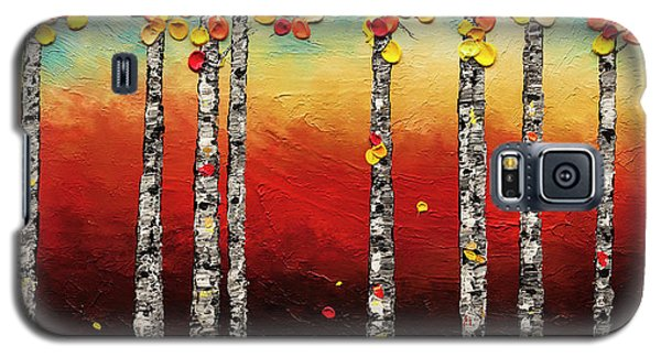 Galaxy S5 Case featuring the painting Autumn Birch Trees by Carmen Guedez