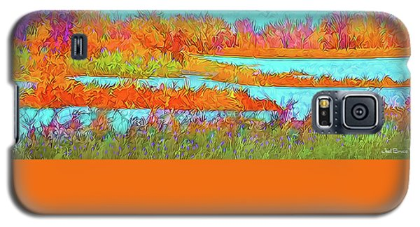Galaxy S5 Case featuring the digital art Autumn Grassy Meadow With Floating Lakes by Joel Bruce Wallach
