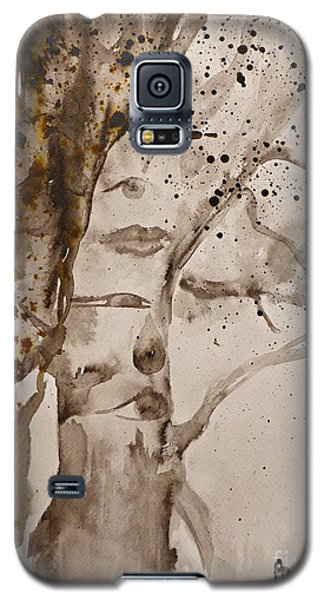 Galaxy S5 Case featuring the painting Autumn Human Face Tree by AmaS Art
