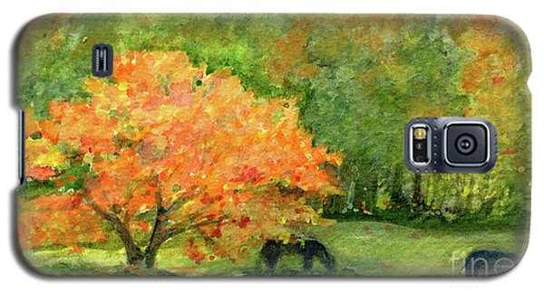 Autumn Maple With Horses Grazing Galaxy S5 Case
