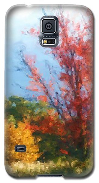 Galaxy S5 Case featuring the mixed media Autumn Red And Yellow by Smilin Eyes  Treasures