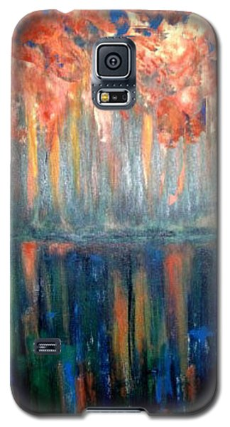 Galaxy S5 Case featuring the painting Autumn Reflections by Rae Chichilnitsky