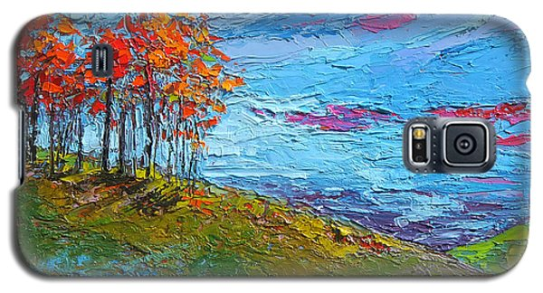 Autumn Sunset - Modern Impressionist Palette Knife Oil Painting Galaxy S5 Case
