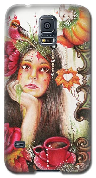 Galaxy S5 Case featuring the drawing Autumn Tea  by Sheena Pike