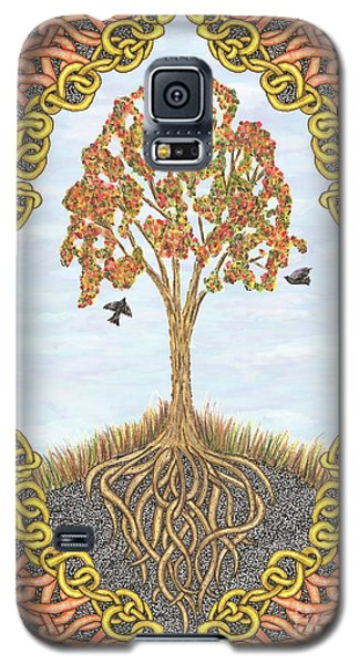 Autumn Tree With Knotted Roots And Knotted Border Galaxy S5 Case