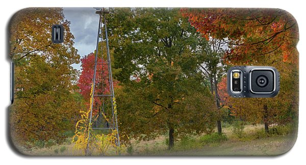 Galaxy S5 Case featuring the photograph Autumn Windmill Square by Bill Wakeley