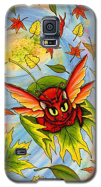 Galaxy S5 Case featuring the painting Autumn Winds Fairy Cat by Carrie Hawks