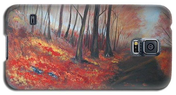 Galaxy S5 Case featuring the painting Autumns Pathway by Leslie Allen