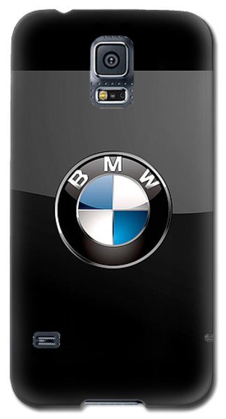 B M W  3 D Badge On Black Galaxy S5 Case by Serge Averbukh