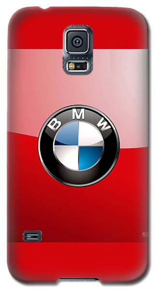 B M W Badge On Red  Galaxy S5 Case by Serge Averbukh