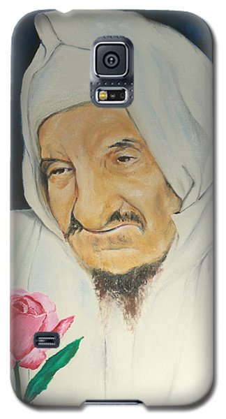 Galaxy S5 Case featuring the painting Baba Sali With Rose by Miriam Leah