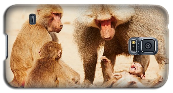 Galaxy S5 Case featuring the photograph Baboon Family Having Fun In The Desert by Nick  Biemans