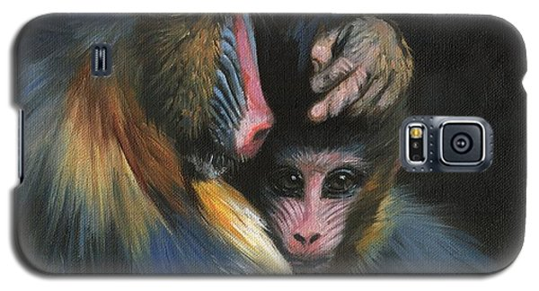 Galaxy S5 Case featuring the painting Baboon Mother And Baby by David Stribbling