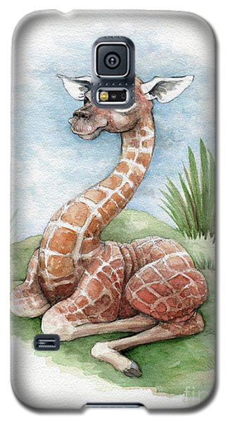 Galaxy S5 Case featuring the painting Baby Giraffe by Lora Serra
