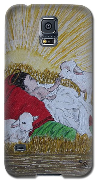 Galaxy S5 Case featuring the painting Baby Jesus At Birth by Kathy Marrs Chandler