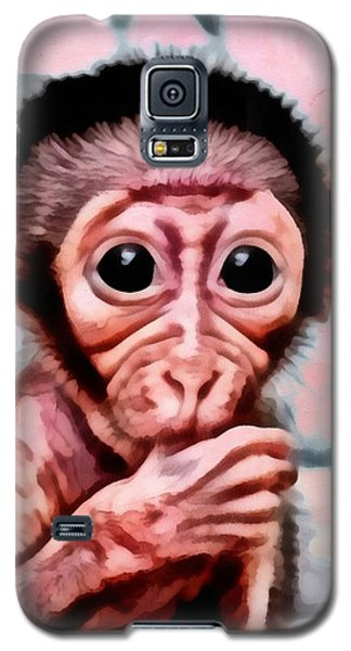Galaxy S5 Case featuring the digital art Baby Monkey Realistic by Catherine Lott