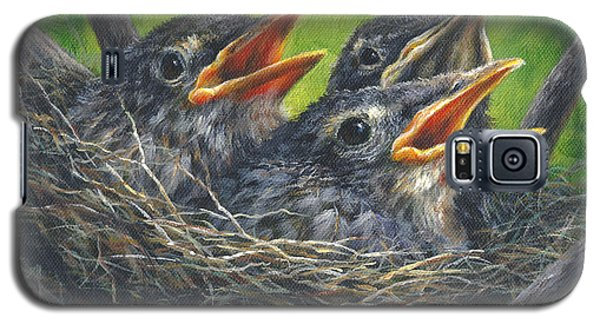 Galaxy S5 Case featuring the painting Baby Robins by Kim Lockman