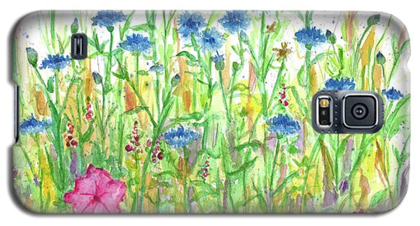 Galaxy S5 Case featuring the painting Bachelor Button Meadow by Cathie Richardson