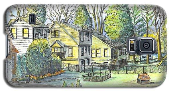 Galaxy S5 Case featuring the painting Hometown Backyard View by Carol Wisniewski