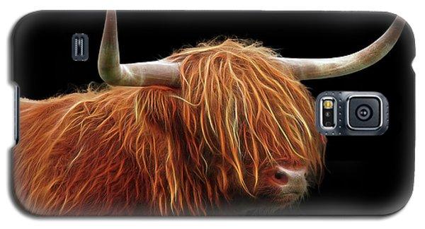 Bad Hair Day - Highland Cow - On Black Galaxy S5 Case