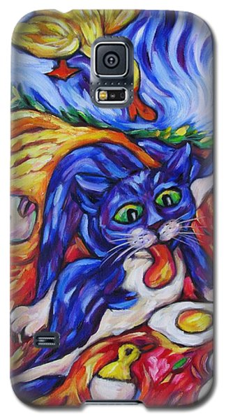 Galaxy S5 Case featuring the painting Bad Kitty Gets Caught by Dianne  Connolly
