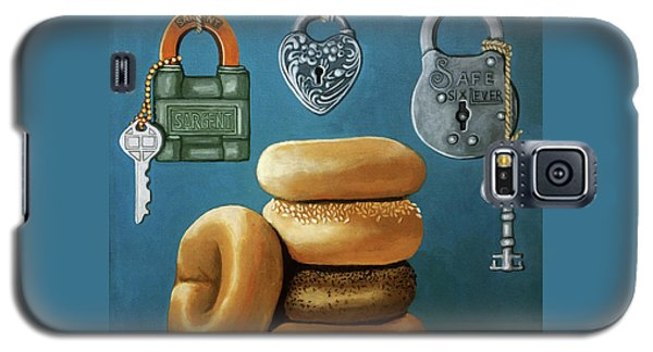 Galaxy S5 Case featuring the painting Bagels And Locks by Linda Apple