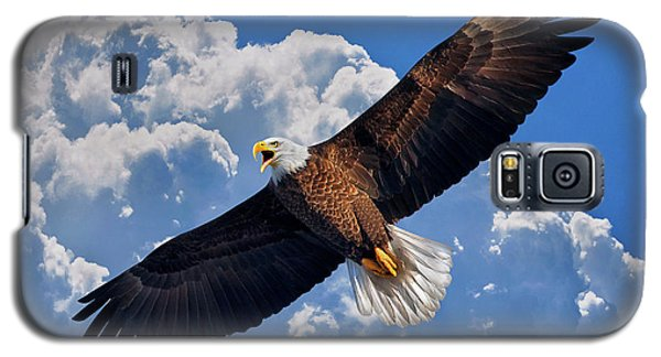 Bald Eagle In Flight Calling Out Galaxy S5 Case by Justin Kelefas