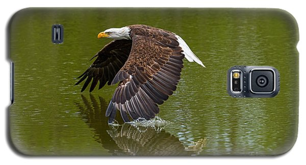 Bald Eagle In Low Flight Over A Lake Galaxy S5 Case by Les Palenik