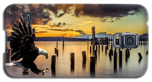 Bald Eagle Landing At Beach As Sun Sets Galaxy S5 Case