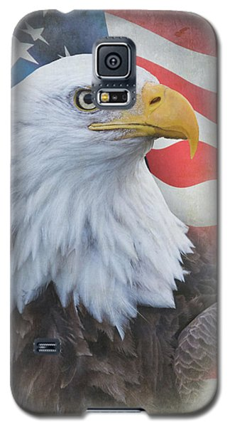 Galaxy S5 Case featuring the photograph Bald Eagle With American Flag by Angie Vogel