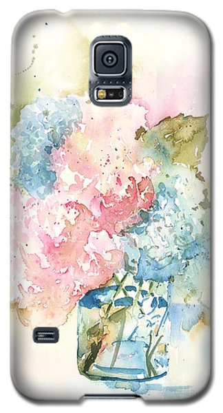 Galaxy S5 Case featuring the painting Ball Jar Hydrangeas by Sandra Strohschein