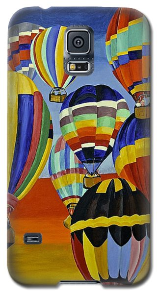 Galaxy S5 Case featuring the painting Balloon Expedition by Donna Blossom