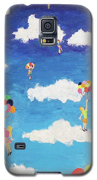 Galaxy S5 Case featuring the painting Balloon Girls by Thomas Blood