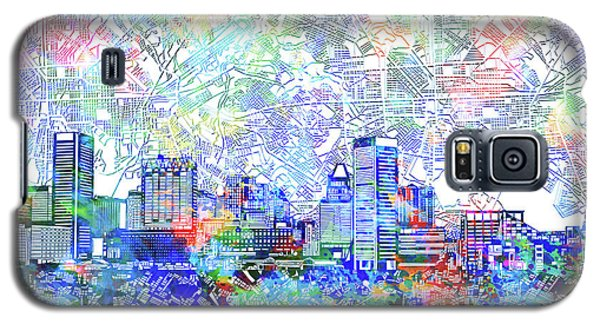 Galaxy S5 Case featuring the painting Baltimore Skyline Watercolor 10 by Bekim Art