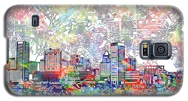 Galaxy S5 Case featuring the painting Baltimore Skyline Watercolor 11 by Bekim Art