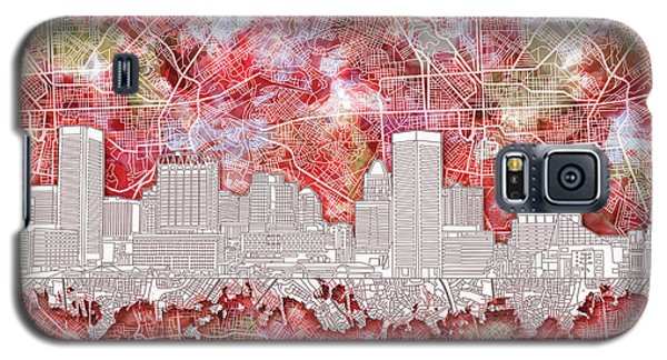Galaxy S5 Case featuring the painting Baltimore Skyline Watercolor 13 by Bekim Art