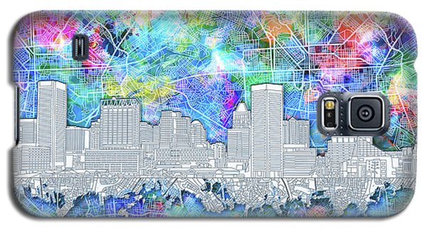 Galaxy S5 Case featuring the painting Baltimore Skyline Watercolor 14 by Bekim Art