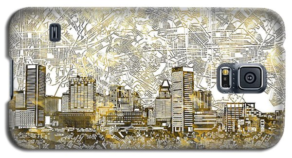 Galaxy S5 Case featuring the painting Baltimore Skyline Watercolor 8 by Bekim Art