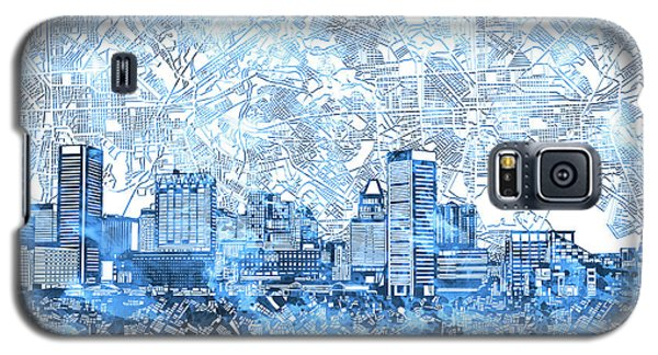 Galaxy S5 Case featuring the painting Baltimore Skyline Watercolor 9 by Bekim Art