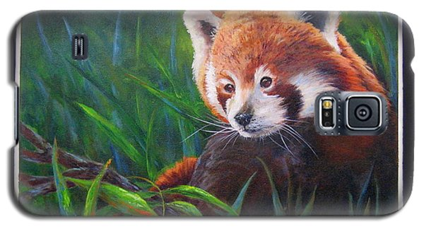 Galaxy S5 Case featuring the painting Bamboo Basking--red Panda by Mary McCullah
