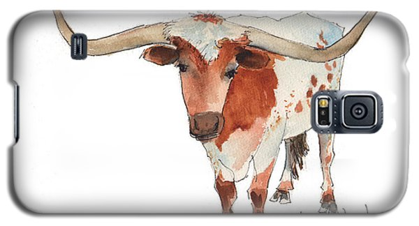 Texas Longhorn Bandero Watercolor Painting By Kmcelwaine Galaxy S5 Case
