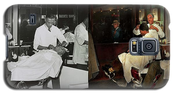 Galaxy S5 Case featuring the photograph Barber - A Time Honored Tradition 1941 - Side By Side by Mike Savad