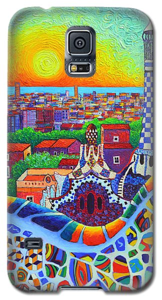 Barcelona Park Guell Sunrise Gaudi Tower Textural Impasto Knife Oil Painting By Ana Maria Edulescu Galaxy S5 Case