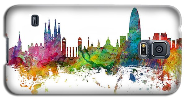 Barcelona Galaxy S5 Case - Barcelona Spain Skyline Panoramic by Michael Tompsett