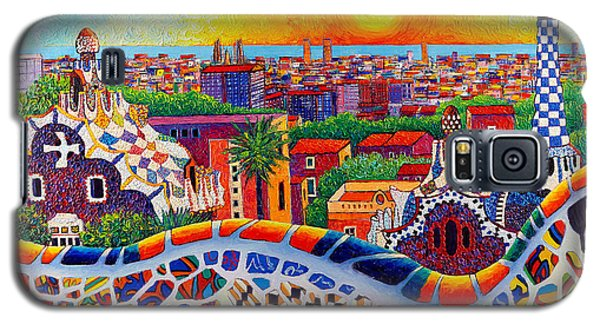 Barcelona Sunrise Colors From Park Guell Modern Impressionism Knife Oil Painting Ana Maria Edulescu Galaxy S5 Case