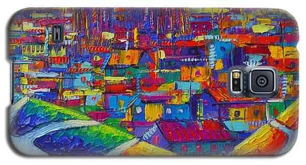 Barcelona View Sagrada From Park Guell Impressionist Abstract City Knife Painting Ana Maria Edulescu Galaxy S5 Case
