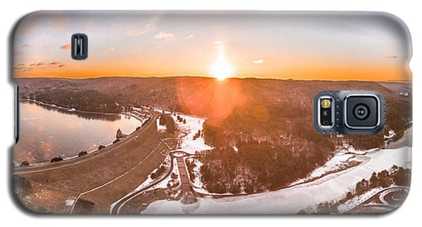 Barkhamsted Reservoir And Saville Dam In Connecticut, Sunrise Panorama Galaxy S5 Case by Petr Hejl