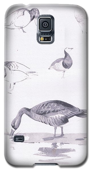 Barnacle And White Fronted Geese Galaxy S5 Case by Archibald Thorburn