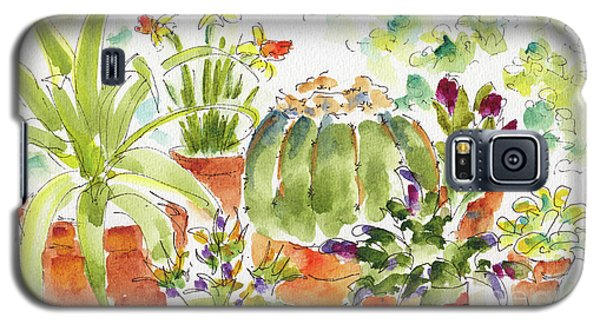 Galaxy S5 Case featuring the painting Barrel Cactus And His Buddies by Pat Katz