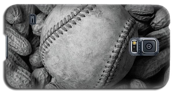 Galaxy S5 Case featuring the photograph Baseball And Peanuts Black And White Square  by Terry DeLuco